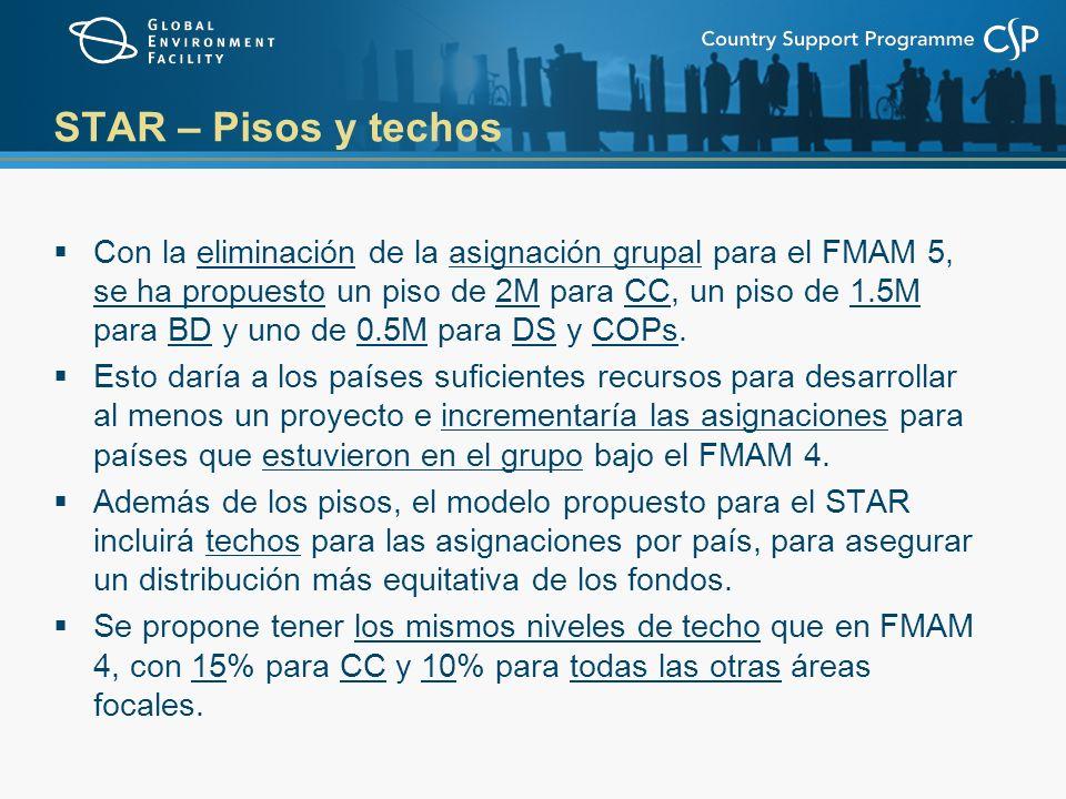 STAR – Pisos y techos Con la eliminación de la asignación grupal para el FMAM 5, se ha propuesto un piso de 2M para CC, un piso de 1.5M para BD y uno de 0.5M para DS y COPs.