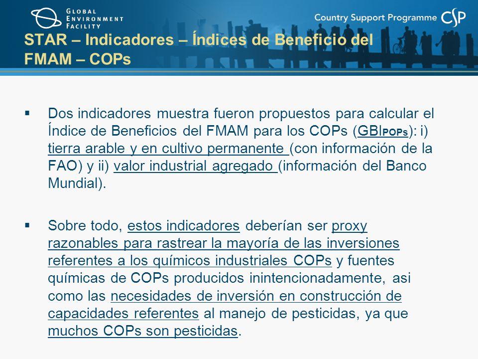 STAR – Indicadores – Índices de Beneficio del FMAM – COPs Dos indicadores muestra fueron propuestos para calcular el Índice de Beneficios del FMAM para los COPs (GBI POPs ): i) tierra arable y en cultivo permanente (con información de la FAO) y ii) valor industrial agregado (información del Banco Mundial).