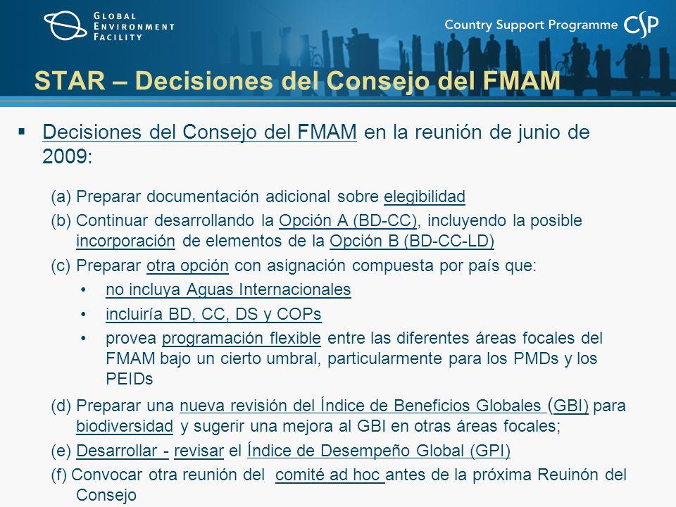 STAR – Decisiones del Consejo del FMAM Decisiones del Consejo del FMAM en la reunión de junio de 2009: (a)Preparar documentación adicional sobre elegibilidad (b)Continuar desarrollando la Opción A (BD-CC), incluyendo la posible incorporación de elementos de la Opción B (BD-CC-LD) (c)Preparar otra opción con asignación compuesta por país que: no incluya Aguas Internacionales incluiría BD, CC, DS y COPs provea programación flexible entre las diferentes áreas focales del FMAM bajo un cierto umbral, particularmente para los PMDs y los PEIDs (d) Preparar una nueva revisión del Índice de Beneficios Globales ( GBI) para biodiversidad y sugerir una mejora al GBI en otras áreas focales; (e) Desarrollar - revisar el Índice de Desempeño Global (GPI) (f) Convocar otra reunión del comité ad hoc antes de la próxima Reuinón del Consejo