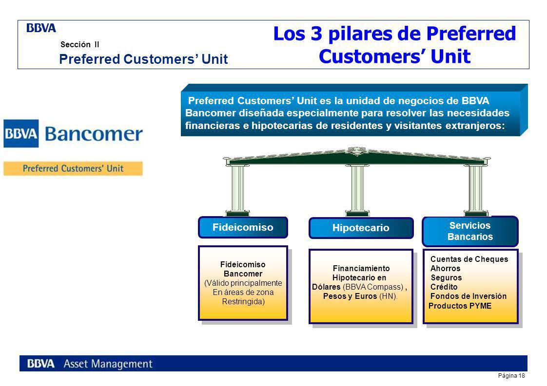 Página 17 Sección II Bancomer es la primera Institución bancaria en en desarrollar e implementar un servicio completamente dirigido a los extranjeros