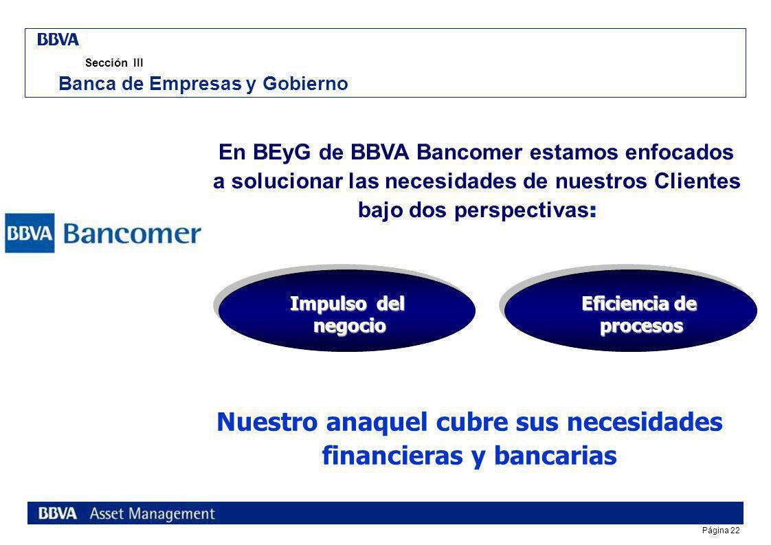 Página 21 índice Sección I Fiduciario BBVA Bancomer Sección II Preferred Customer s Unit Sección III Banca de Empresas y Gobierno Reunión Nacional de