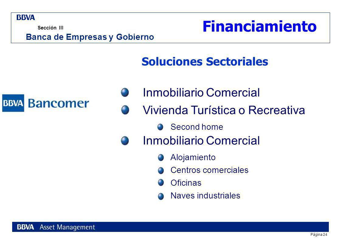 Página 23 Sección III Banca de Empresas y Gobierno Financiamiento La gama más completa para impulsar el desarrollo de nuestros clientes Ciclo Producti