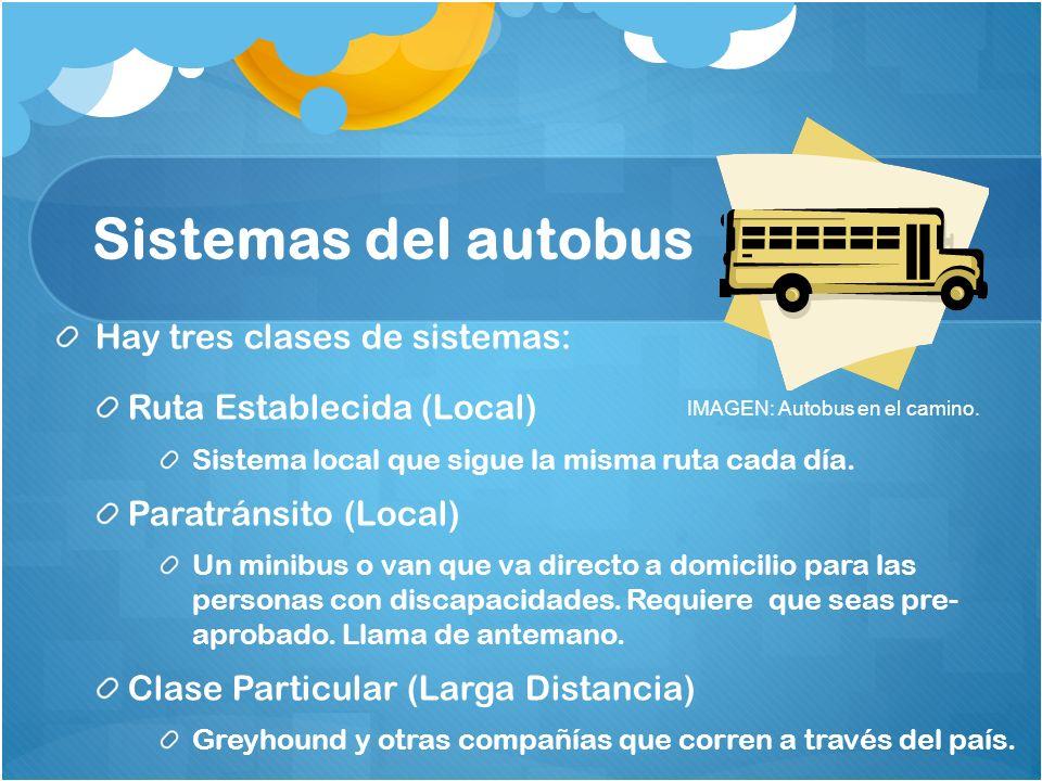 Sistemas del autobus Hay tres clases de sistemas: Ruta Establecida (Local) Sistema local que sigue la misma ruta cada día. Paratránsito (Local) Un min