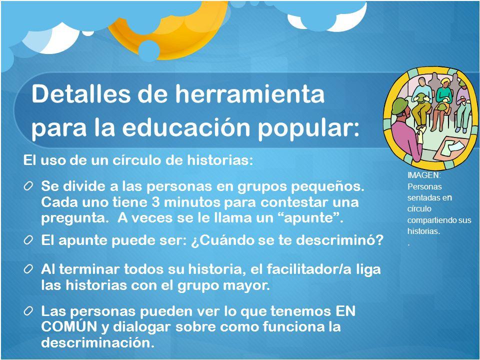 Detalles de herramienta para la educación popular: El uso de un círculo de historias: Se divide a las personas en grupos pequeños.
