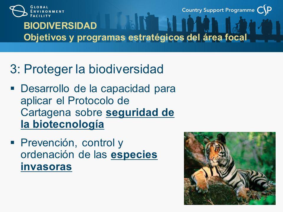 BIODIVERSIDAD Objetivos y programas estratégicos del área focal 3: Proteger la biodiversidad Desarrollo de la capacidad para aplicar el Protocolo de Cartagena sobre seguridad de la biotecnología Prevención, control y ordenación de las especies invasoras