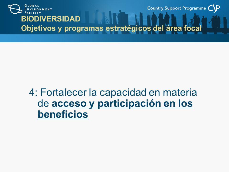 BIODIVERSIDAD Objetivos y programas estratégicos del área focal 4: Fortalecer la capacidad en materia de acceso y participación en los beneficios