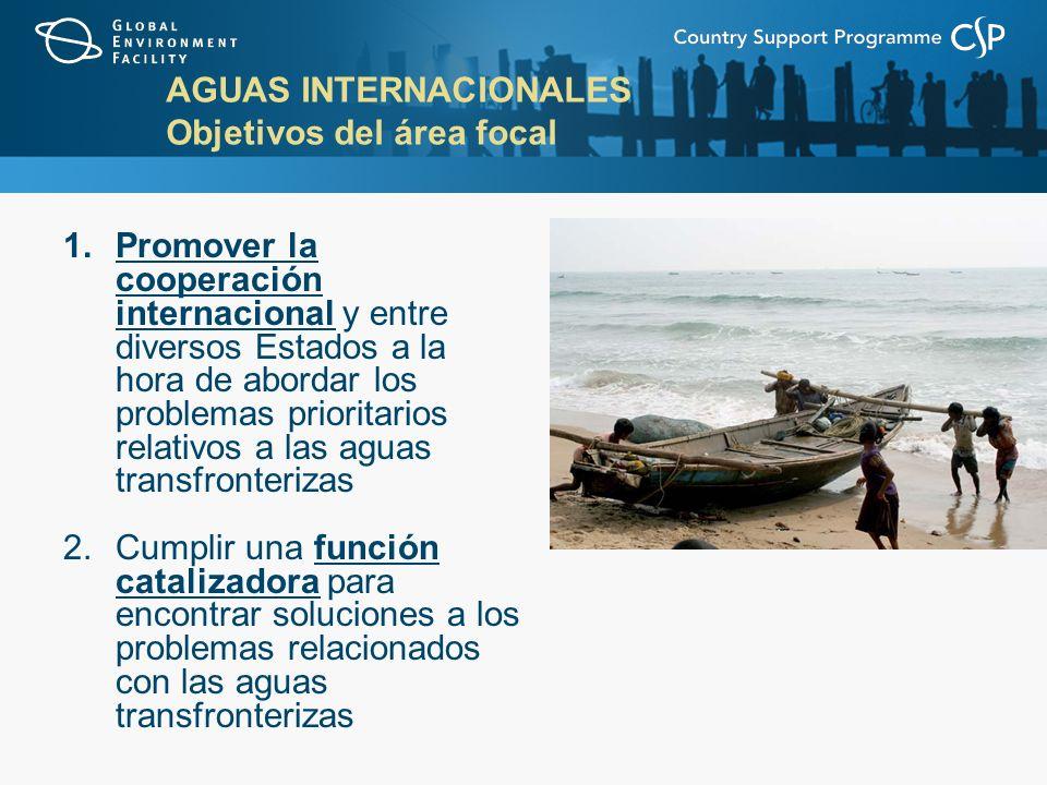 AGUAS INTERNACIONALES Objetivos del área focal 1.Promover la cooperación internacional y entre diversos Estados a la hora de abordar los problemas prioritarios relativos a las aguas transfronterizas 2.Cumplir una función catalizadora para encontrar soluciones a los problemas relacionados con las aguas transfronterizas