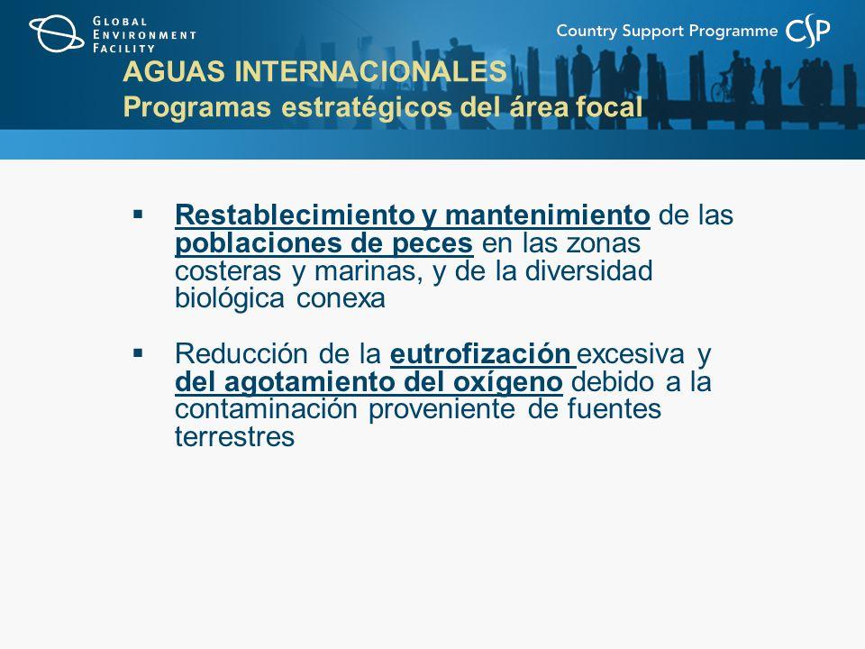 AGUAS INTERNACIONALES Programas estratégicos del área focal Restablecimiento y mantenimiento de las poblaciones de peces en las zonas costeras y marinas, y de la diversidad biológica conexa Reducción de la eutrofización excesiva y del agotamiento del oxígeno debido a la contaminación proveniente de fuentes terrestres