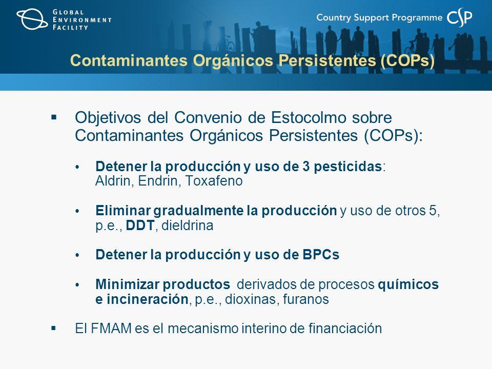 Contaminantes Orgánicos Persistentes (COPs) Objetivos del Convenio de Estocolmo sobre Contaminantes Orgánicos Persistentes (COPs): Detener la producción y uso de 3 pesticidas: Aldrin, Endrin, Toxafeno Eliminar gradualmente la producción y uso de otros 5, p.e., DDT, dieldrina Detener la producción y uso de BPCs Minimizar productos derivados de procesos químicos e incineración, p.e., dioxinas, furanos El FMAM es el mecanismo interino de financiación