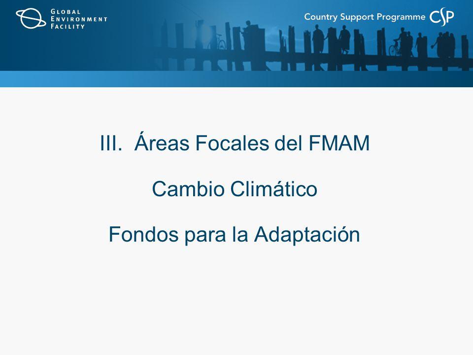 III. Áreas Focales del FMAM Cambio Climático Fondos para la Adaptación