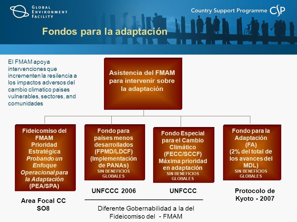 Fondos para la adaptación Asistencia del FMAM para intervenir sobre la adaptación Fideicomiso del FMAM Prioridad Estratégica Probando un Enfoque Operacional para la Adaptación (PEA/SPA) Fondo para países menos desarrollados (FPMD/LDCF) (Implementación de PANAs) SIN BENEFICIOS GLOBALES Fondo Especial para el Cambio Climático (FECC/SCCF) Máxima prioridad en adaptación SIN BENEFICIOS GLOBALES Fondo para la Adaptación (FA) (2% del total de los avances del MDL) SIN BENEFICIOS GLOBALES Area Focal CC SO8 UNFCCC 2006UNFCCCProtocolo de Kyoto - 2007 _____________________________ Diferente Gobernabilidad a la del Fideicomiso del - FMAM El FMAM apoya intervenciones que incrementen la resilencia a los impactos adversos del cambio climatico paises vulnerables, sectores, and comunidades