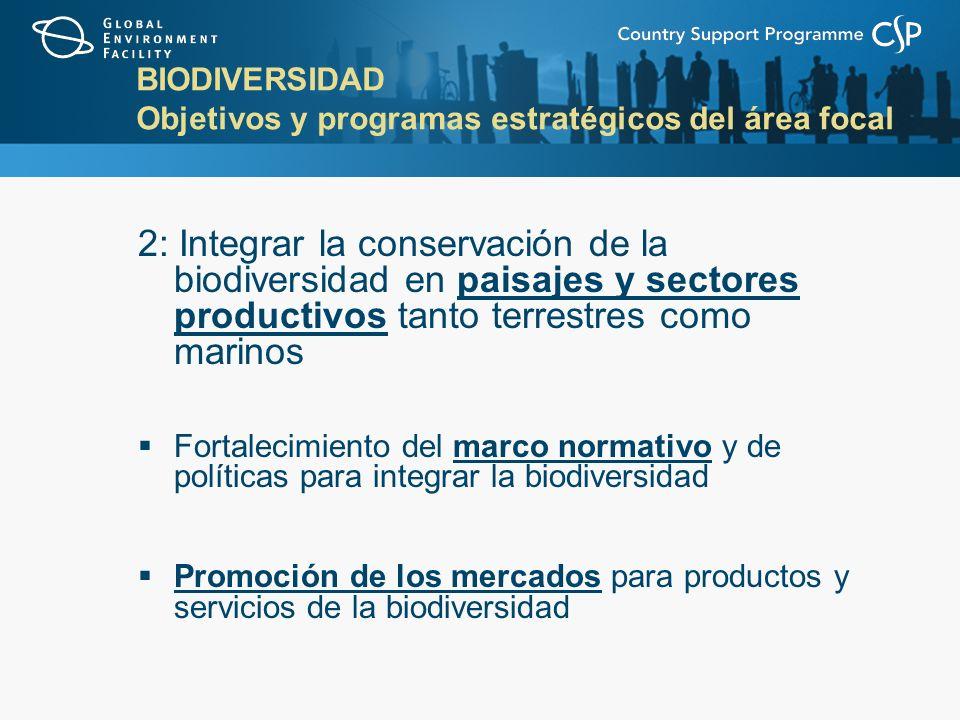 BIODIVERSIDAD Objetivos y programas estratégicos del área focal 2: Integrar la conservación de la biodiversidad en paisajes y sectores productivos tanto terrestres como marinos Fortalecimiento del marco normativo y de políticas para integrar la biodiversidad Promoción de los mercados para productos y servicios de la biodiversidad