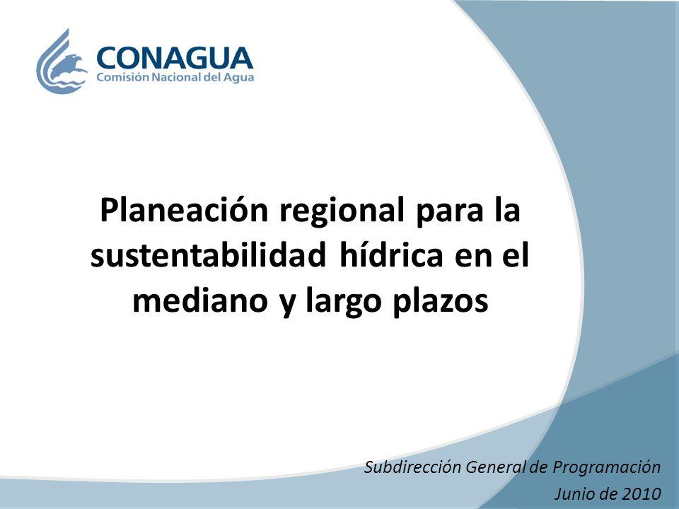 Subdirección General de Programación Junio de 2010 Planeación regional para la sustentabilidad hídrica en el mediano y largo plazos