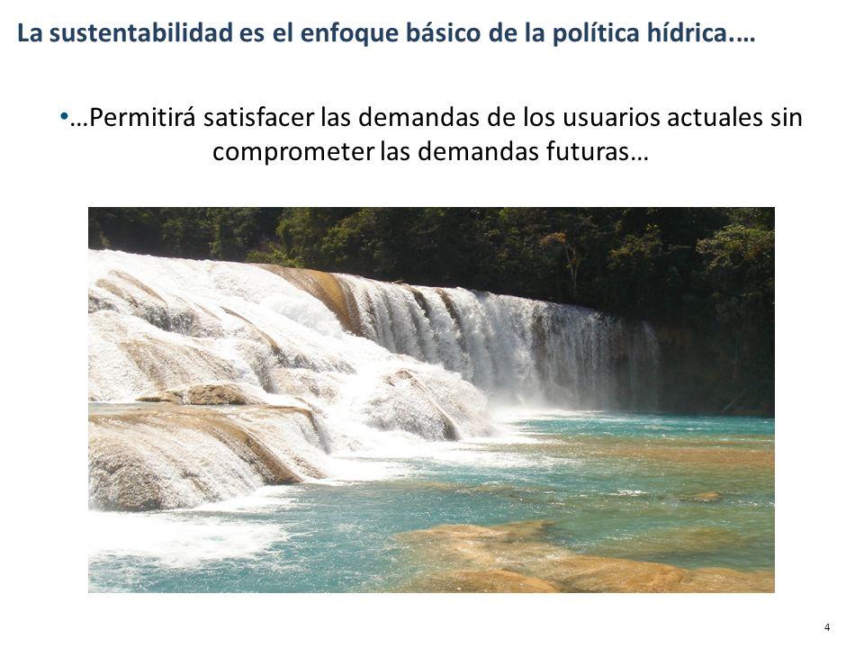 …Permitirá satisfacer las demandas de los usuarios actuales sin comprometer las demandas futuras… La sustentabilidad es el enfoque básico de la política hídrica.… 4