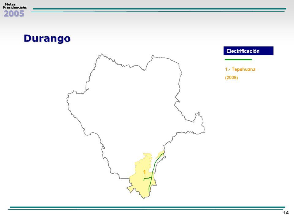 2005 Metas MetasPresidenciales 14 Durango 1.- Tepehuana (2006) Electrificación