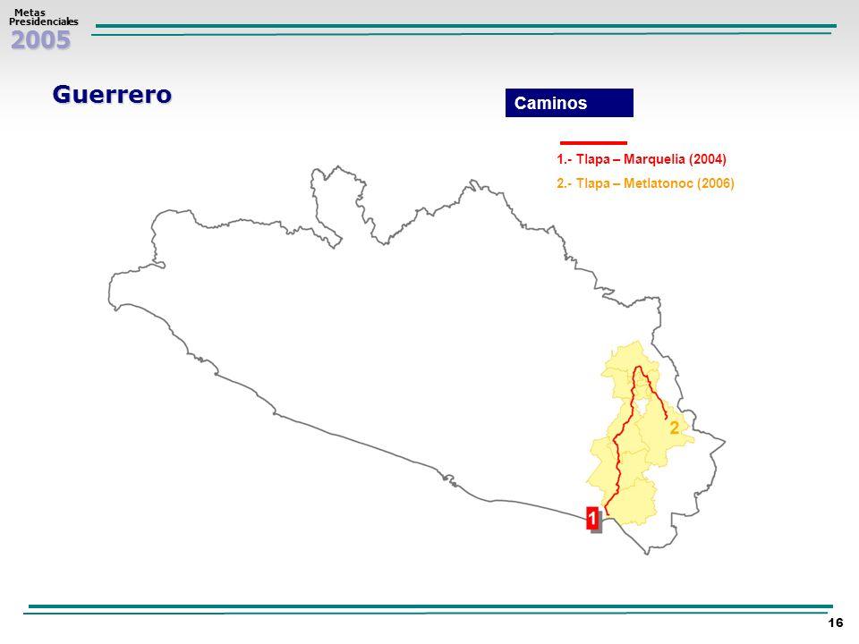 2005 Metas MetasPresidenciales 16 Guerrero 1.- Tlapa – Marquelia (2004) 2.- Tlapa – Metlatonoc (2006) Caminos
