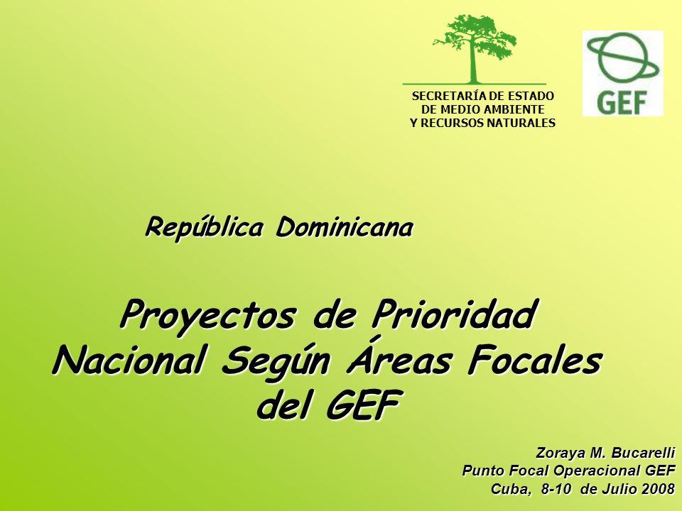 Proyectos de Prioridad Nacional Según Áreas Focales del GEF República Dominicana SECRETARÍA DE ESTADO DE MEDIO AMBIENTE Y RECURSOS NATURALES Zoraya M.