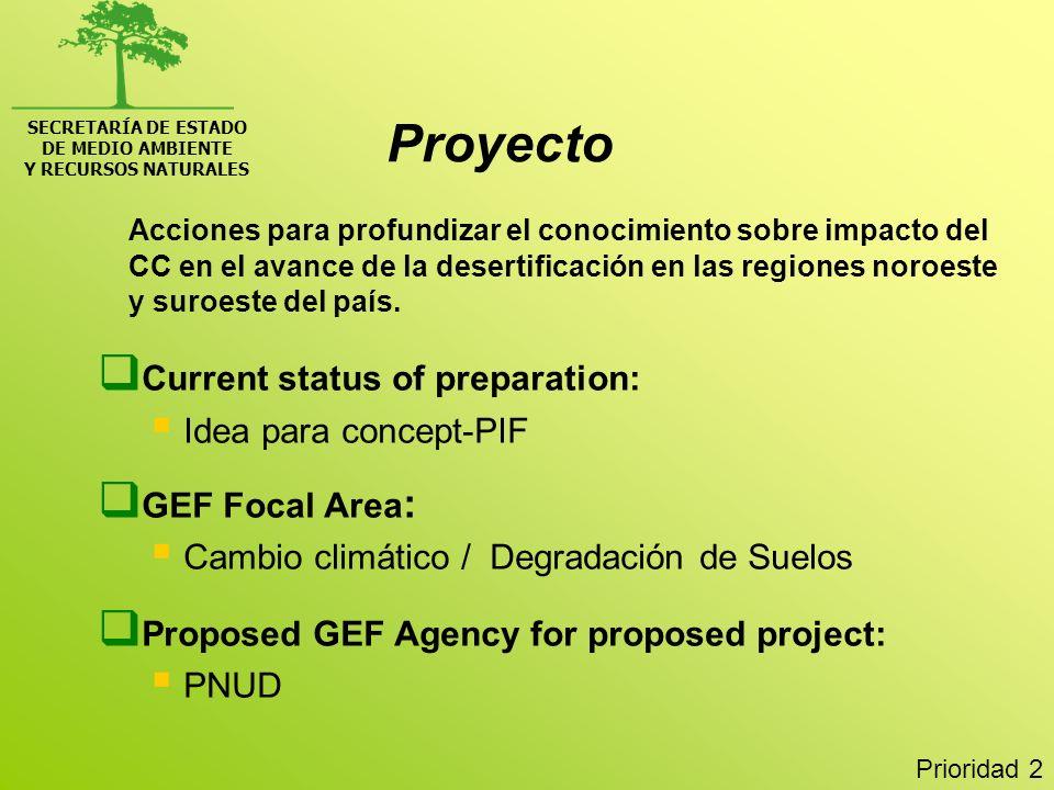 SECRETARÍA DE ESTADO DE MEDIO AMBIENTE Y RECURSOS NATURALES Acciones para profundizar el conocimiento sobre impacto del CC en el avance de la desertif