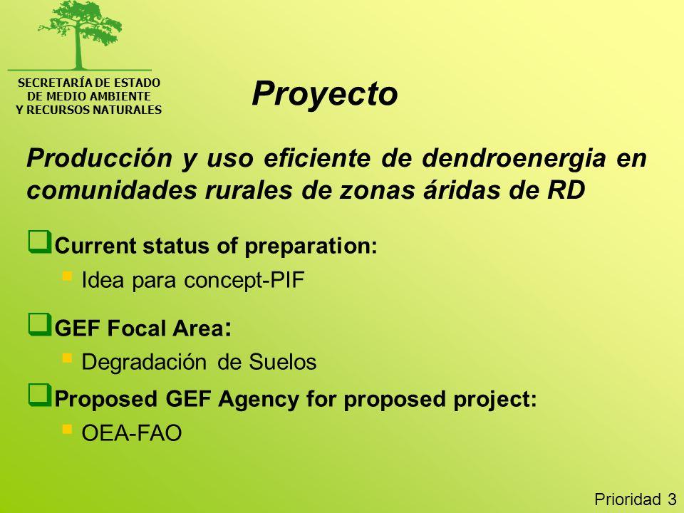SECRETARÍA DE ESTADO DE MEDIO AMBIENTE Y RECURSOS NATURALES Producción y uso eficiente de dendroenergia en comunidades rurales de zonas áridas de RD C