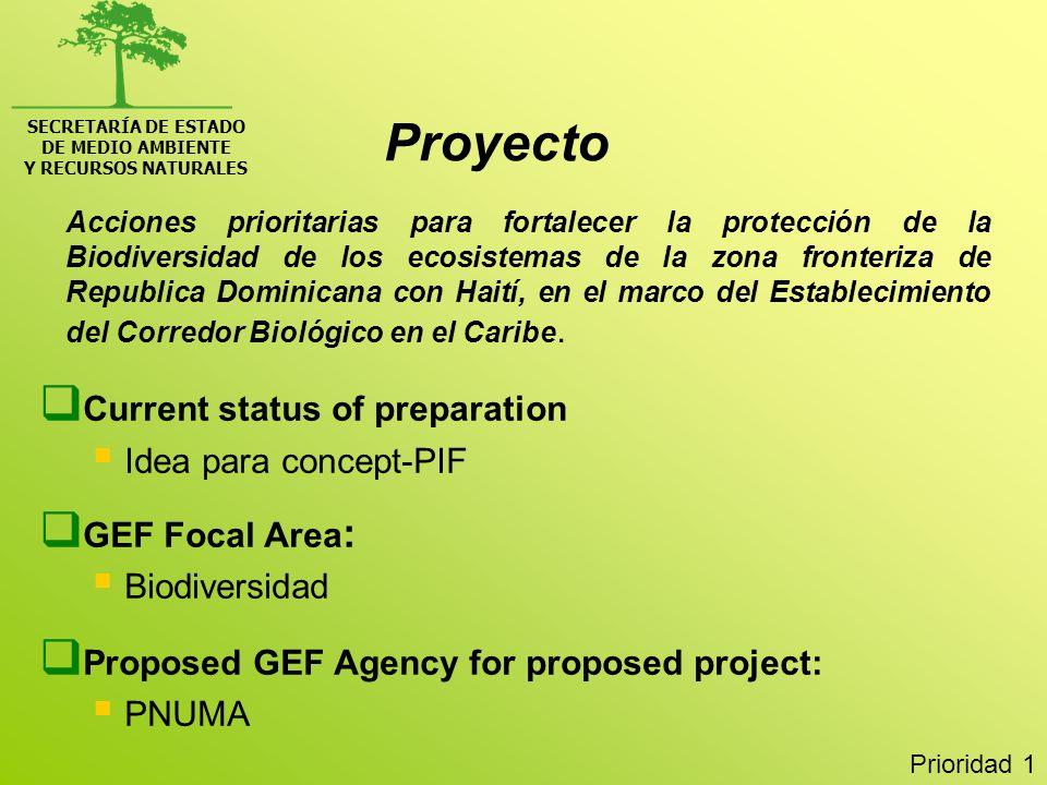SECRETARÍA DE ESTADO DE MEDIO AMBIENTE Y RECURSOS NATURALES Desarrollo de un sistema para el monitoreo y la evaluación del proceso de desertificación de la Republica Dominicana Current status of preparation, e.g., concept-PIF, project document: Idea para concept-PIF GEF Focal Area : Degradación de suelos Proposed GEF Agency for proposed project: PNUD Prioridad 3 Proyecto