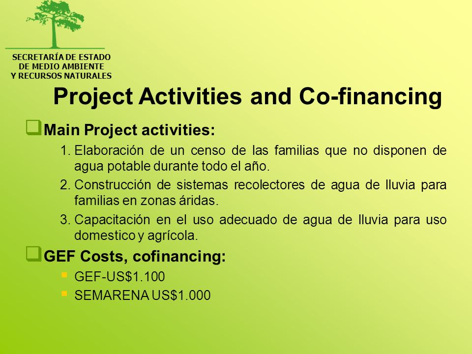 Project Activities and Co-financing Main Project activities: 1.Elaboración de un censo de las familias que no disponen de agua potable durante todo el