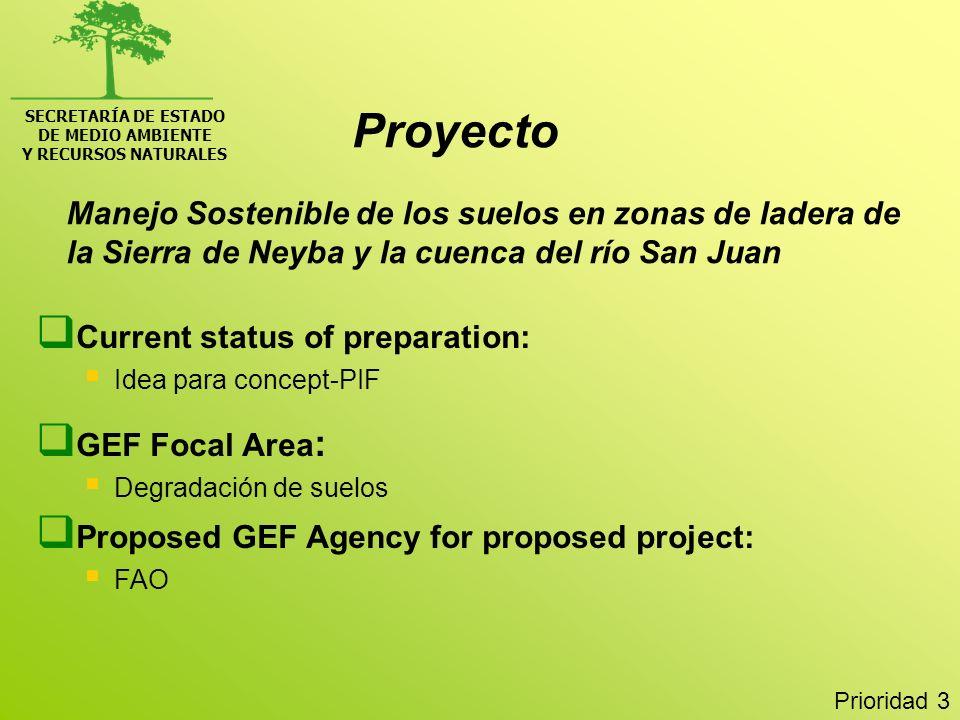 SECRETARÍA DE ESTADO DE MEDIO AMBIENTE Y RECURSOS NATURALES Manejo Sostenible de los suelos en zonas de ladera de la Sierra de Neyba y la cuenca del r