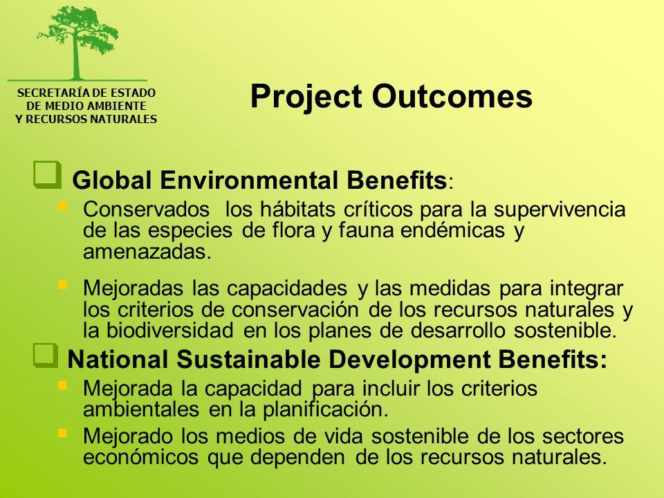 SECRETARÍA DE ESTADO DE MEDIO AMBIENTE Y RECURSOS NATURALES Project Outcomes Global Environmental Benefits: Divulgación del estado del fenómeno a nivel regional y global.
