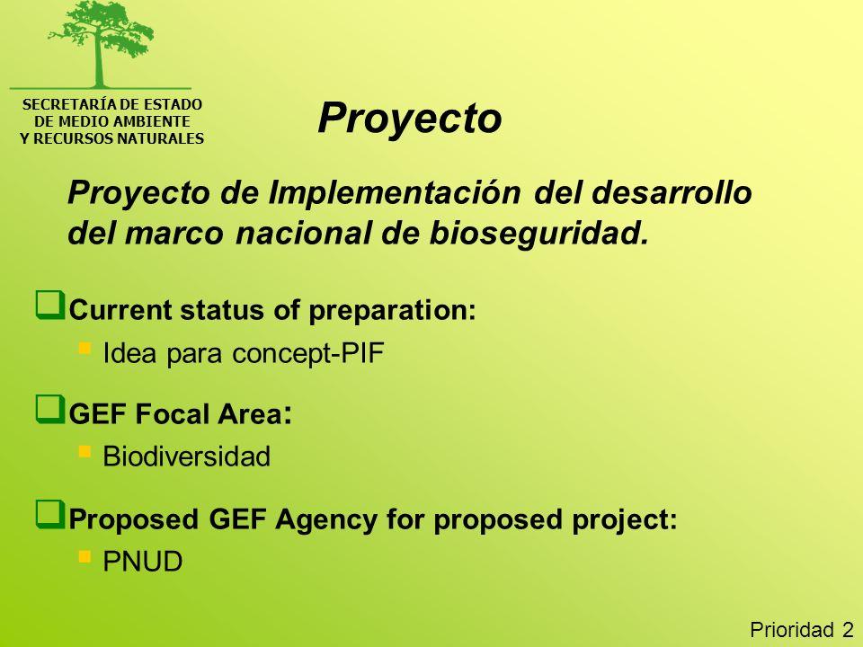 SECRETARÍA DE ESTADO DE MEDIO AMBIENTE Y RECURSOS NATURALES Proyecto de Implementación del desarrollo del marco nacional de bioseguridad. Current stat