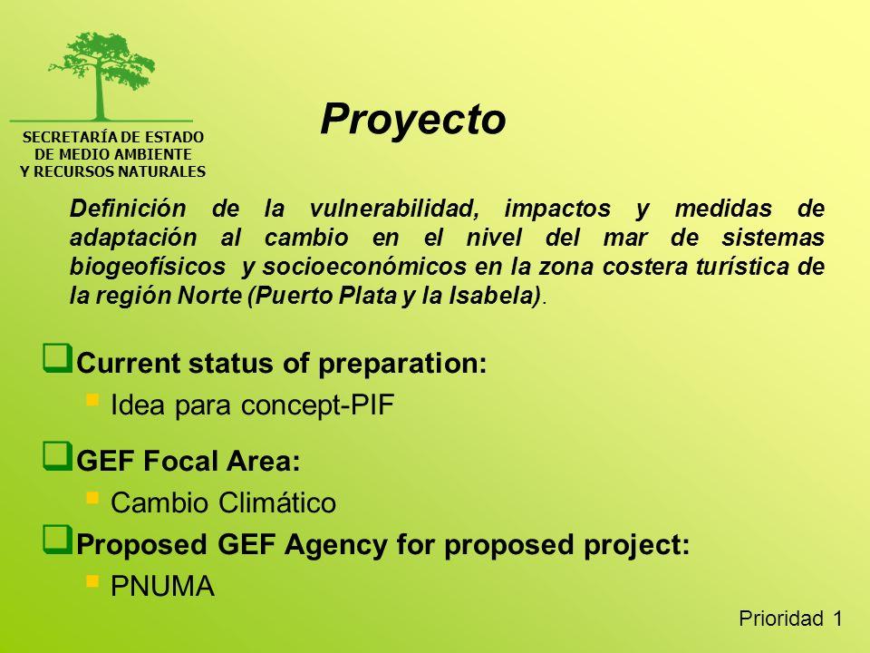 SECRETARÍA DE ESTADO DE MEDIO AMBIENTE Y RECURSOS NATURALES Proyecto Definición de la vulnerabilidad, impactos y medidas de adaptación al cambio en el