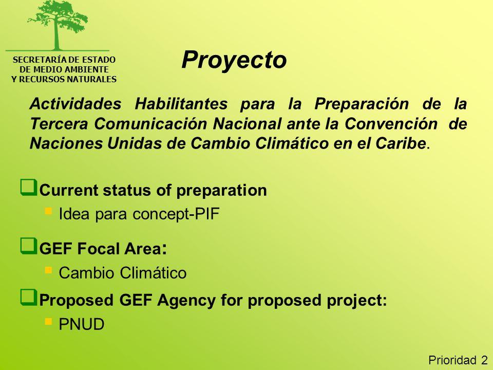 SECRETARÍA DE ESTADO DE MEDIO AMBIENTE Y RECURSOS NATURALES Conservación de la Biodiversidad y los ecosistemas costeros marinos y uso sostenible de sus áreas contiguas, con énfasis en las provincias limítrofes entre RD y Haití Current status of preparation: Idea para concept-PIF GEF Focal Area: MULTI-FOCAL: International Waters/Cambio climático/Biodiversidad Proposed GEF Agency for proposed project: PNUD Prioridad 3 Proyecto