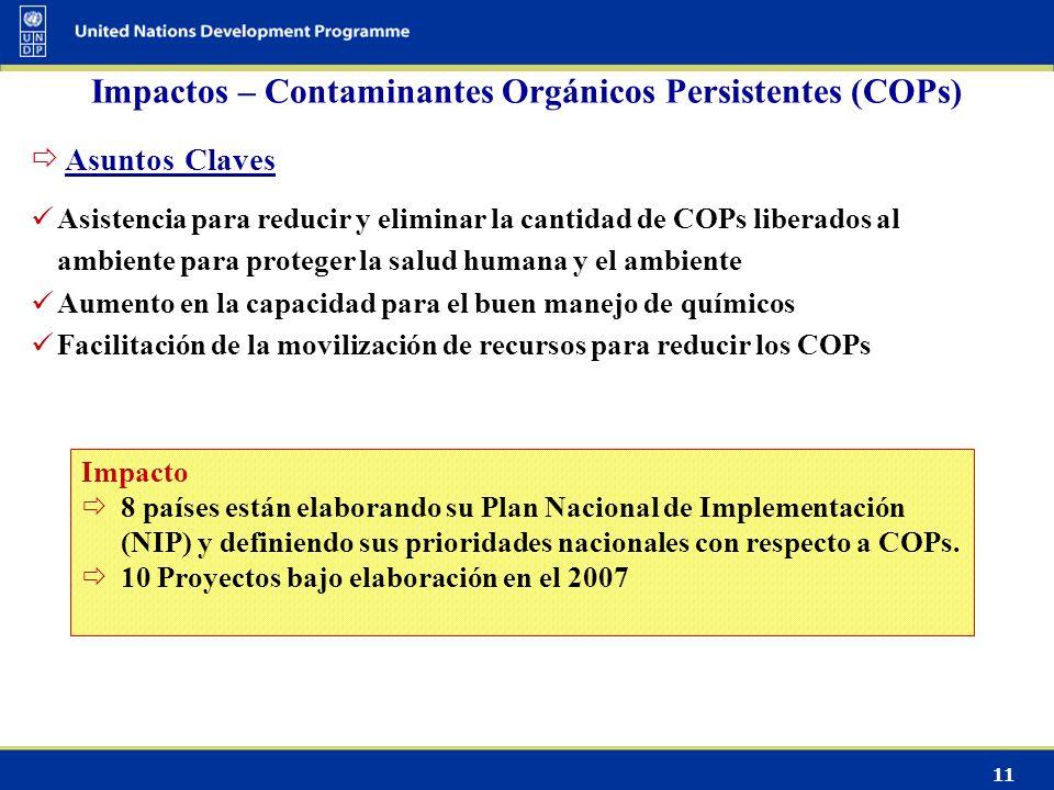11 Impactos – Contaminantes Orgánicos Persistentes (COPs) Impacto 8 países están elaborando su Plan Nacional de Implementación (NIP) y definiendo sus prioridades nacionales con respecto a COPs.