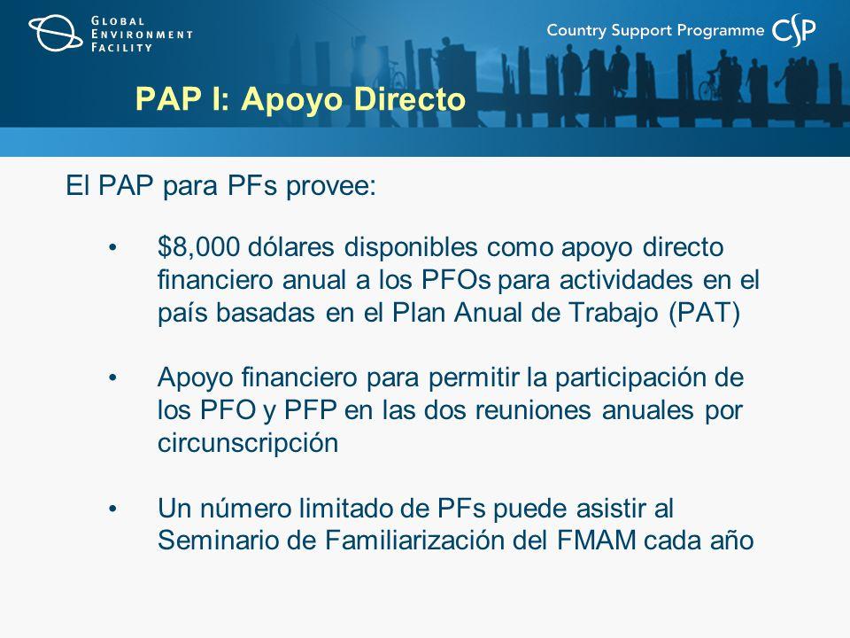 PAP I: Apoyo Directo El PAP para PFs provee: $8,000 dólares disponibles como apoyo directo financiero anual a los PFOs para actividades en el país basadas en el Plan Anual de Trabajo (PAT) Apoyo financiero para permitir la participación de los PFO y PFP en las dos reuniones anuales por circunscripción Un número limitado de PFs puede asistir al Seminario de Familiarización del FMAM cada año