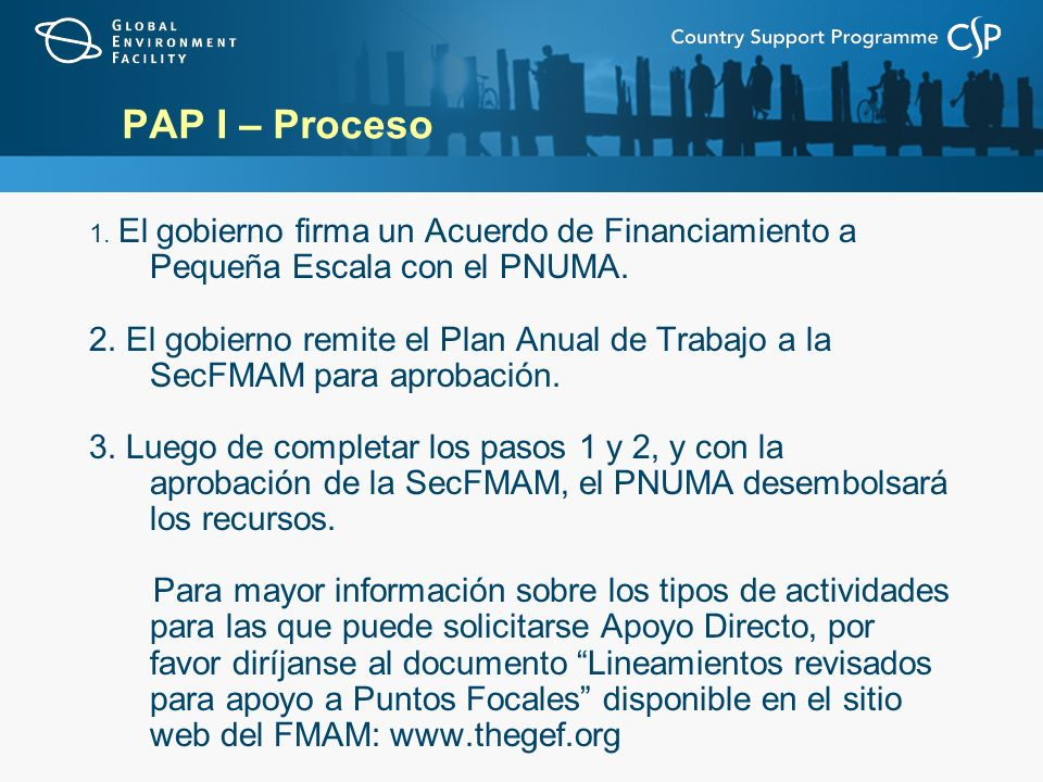 PAP I – Proceso 1. El gobierno firma un Acuerdo de Financiamiento a Pequeña Escala con el PNUMA. 2. El gobierno remite el Plan Anual de Trabajo a la S