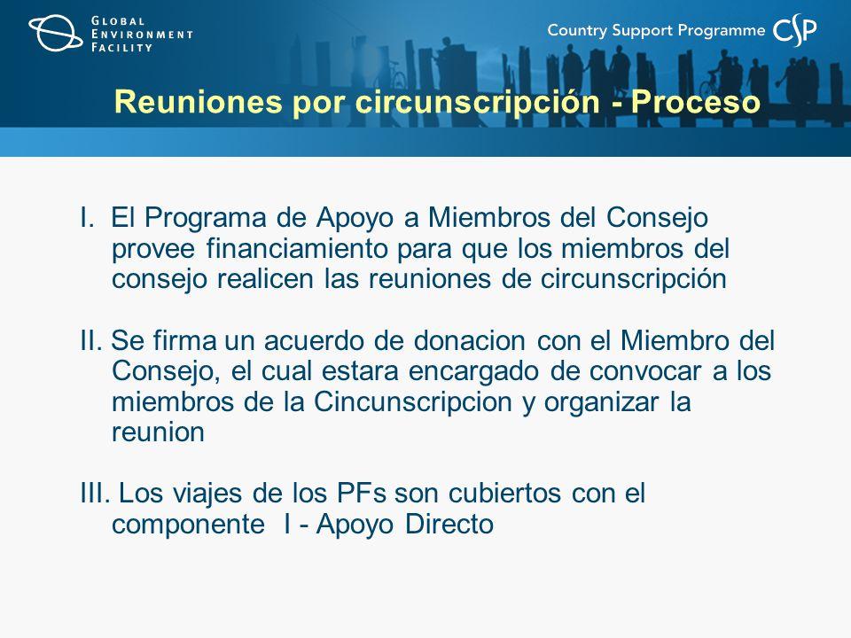 Reuniones por circunscripción - Proceso I. El Programa de Apoyo a Miembros del Consejo provee financiamiento para que los miembros del consejo realice