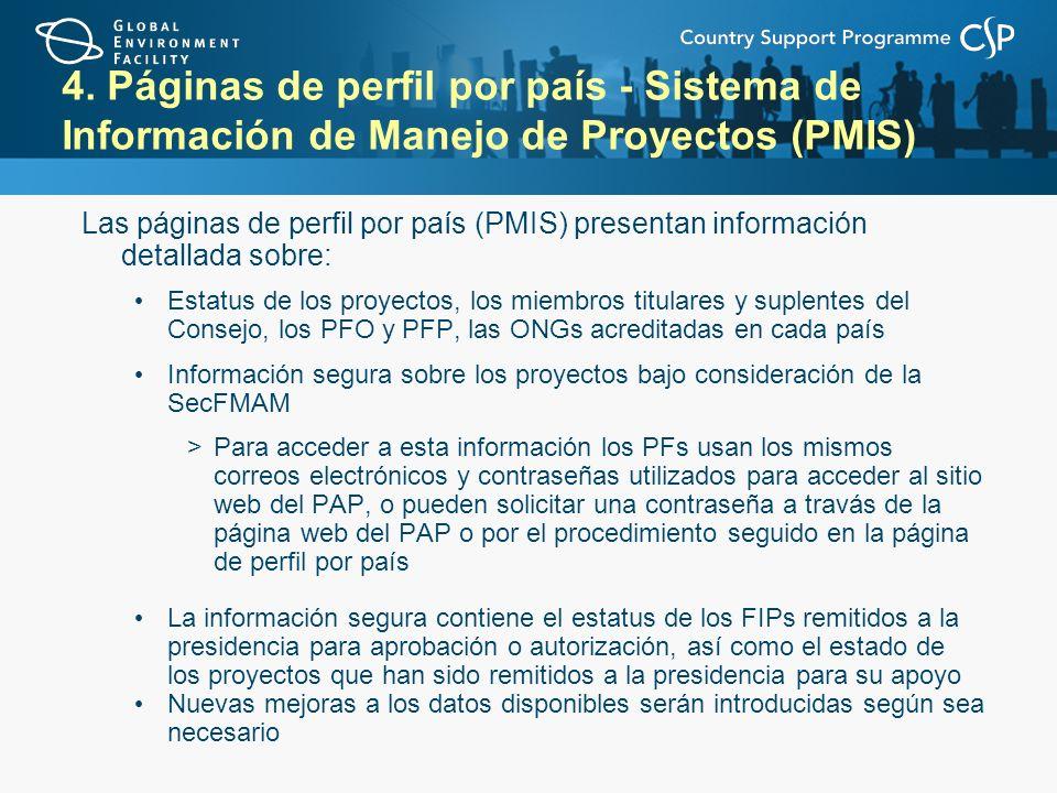 4. Páginas de perfil por país - Sistema de Información de Manejo de Proyectos (PMIS) Las páginas de perfil por país (PMIS) presentan información detal