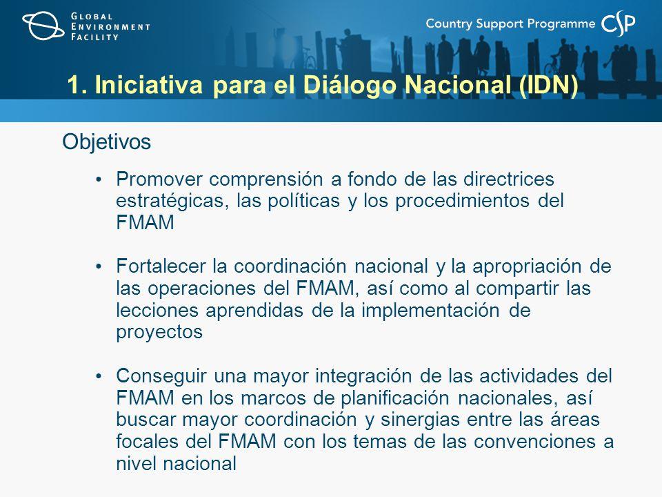 1. Iniciativa para el Diálogo Nacional (IDN) Objetivos Promover comprensión a fondo de las directrices estratégicas, las políticas y los procedimiento