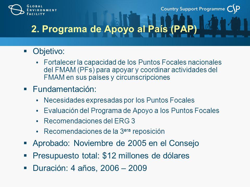 2. Programa de Apoyo al País (PAP) Objetivo: Fortalecer la capacidad de los Puntos Focales nacionales del FMAM (PFs) para apoyar y coordinar actividad