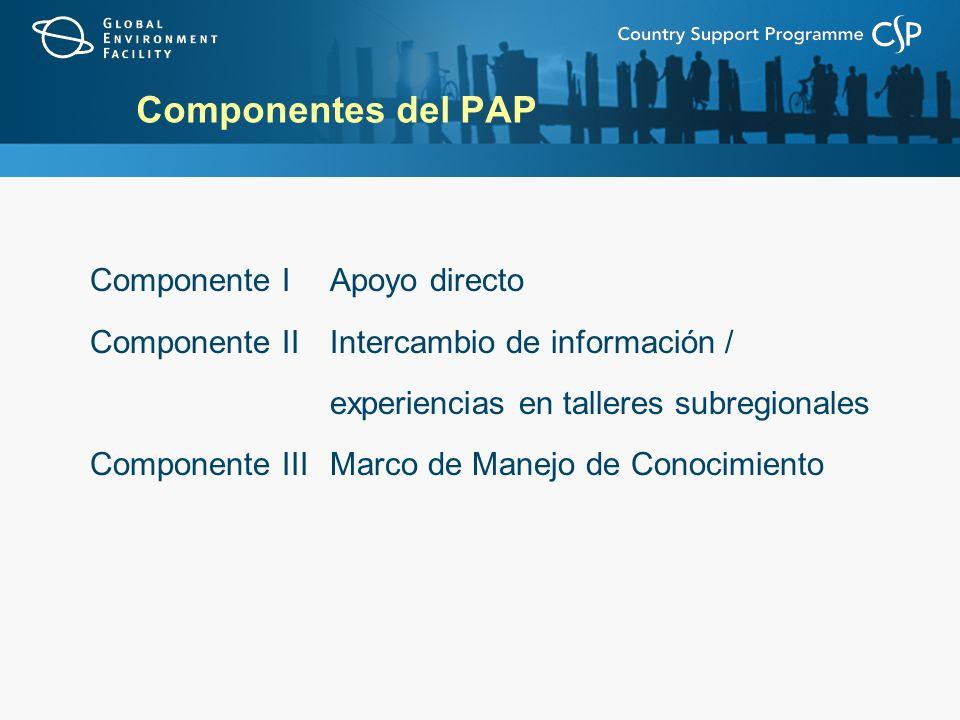 Componentes del PAP Componente IApoyo directo Componente IIIntercambio de información / experiencias en talleres subregionales Componente IIIMarco de Manejo de Conocimiento