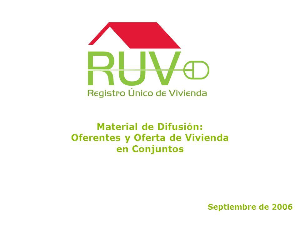 Material de Difusión: Oferentes y Oferta de Vivienda en Conjuntos Septiembre de 2006
