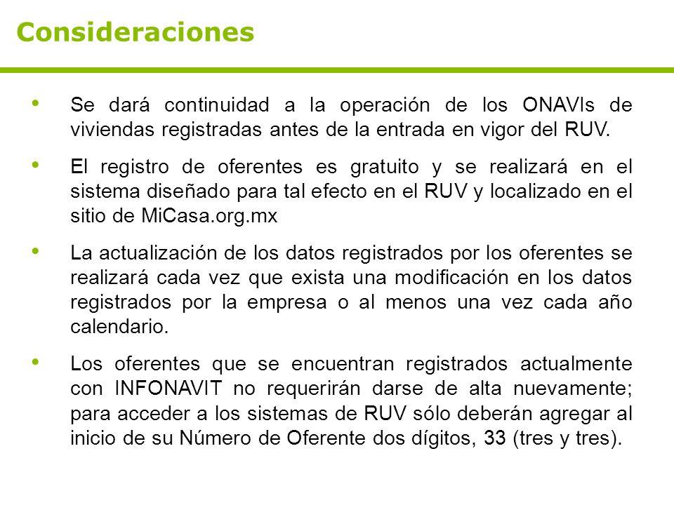 Se dará continuidad a la operación de los ONAVIs de viviendas registradas antes de la entrada en vigor del RUV. El registro de oferentes es gratuito y