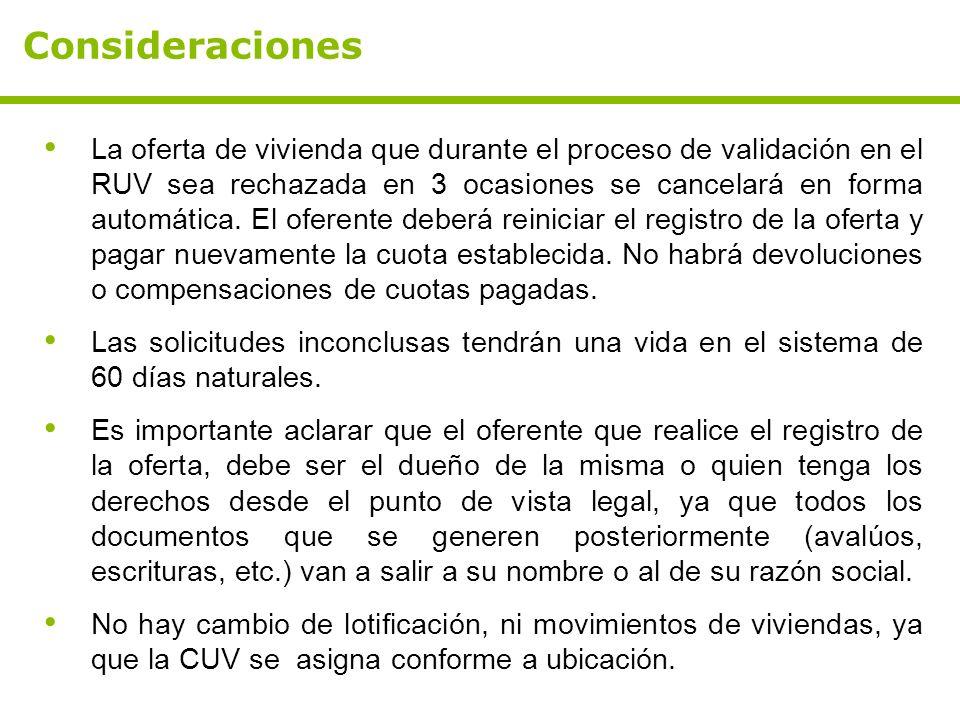 Consideraciones La oferta de vivienda que durante el proceso de validación en el RUV sea rechazada en 3 ocasiones se cancelará en forma automática. El