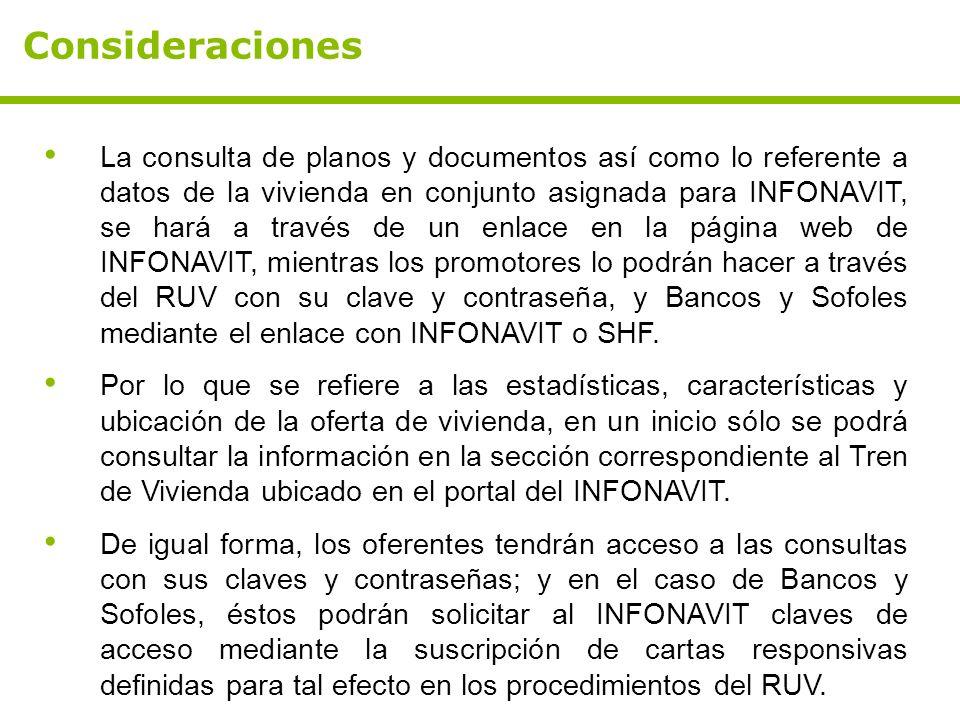 Consideraciones La consulta de planos y documentos así como lo referente a datos de la vivienda en conjunto asignada para INFONAVIT, se hará a través