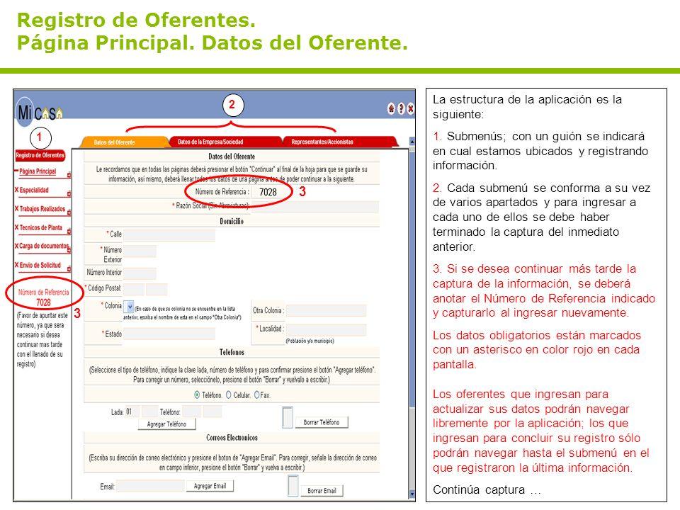 Registro de Oferentes. Página Principal. Datos del Oferente. La estructura de la aplicación es la siguiente: 1. Submenús; con un guión se indicará en