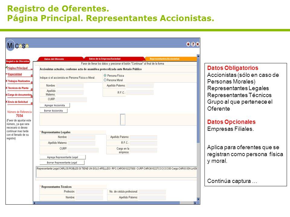 Registro de Oferentes. Página Principal. Representantes Accionistas. Datos Obligatorios Accionistas (sólo en caso de Personas Morales) Representantes