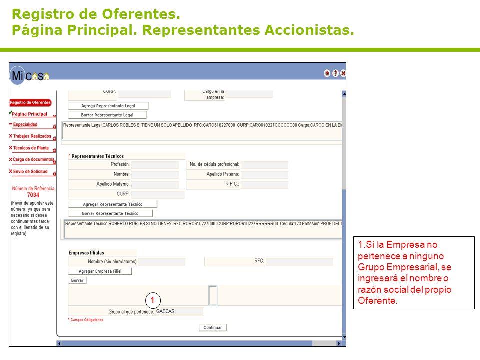 Registro de Oferentes.Página Principal. Representantes Accionistas.