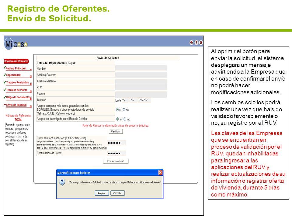 Registro de Oferentes. Envío de Solicitud. Al oprimir el botón para enviar la solicitud, el sistema desplegará un mensaje advirtiendo a la Empresa que