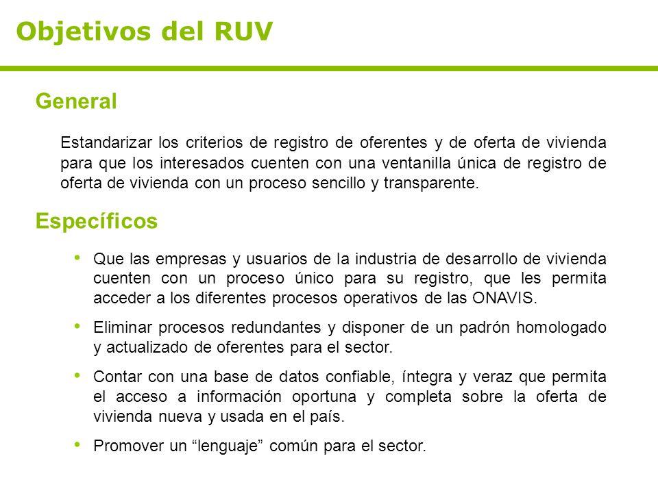Objetivos del RUV General Estandarizar los criterios de registro de oferentes y de oferta de vivienda para que los interesados cuenten con una ventanilla única de registro de oferta de vivienda con un proceso sencillo y transparente.