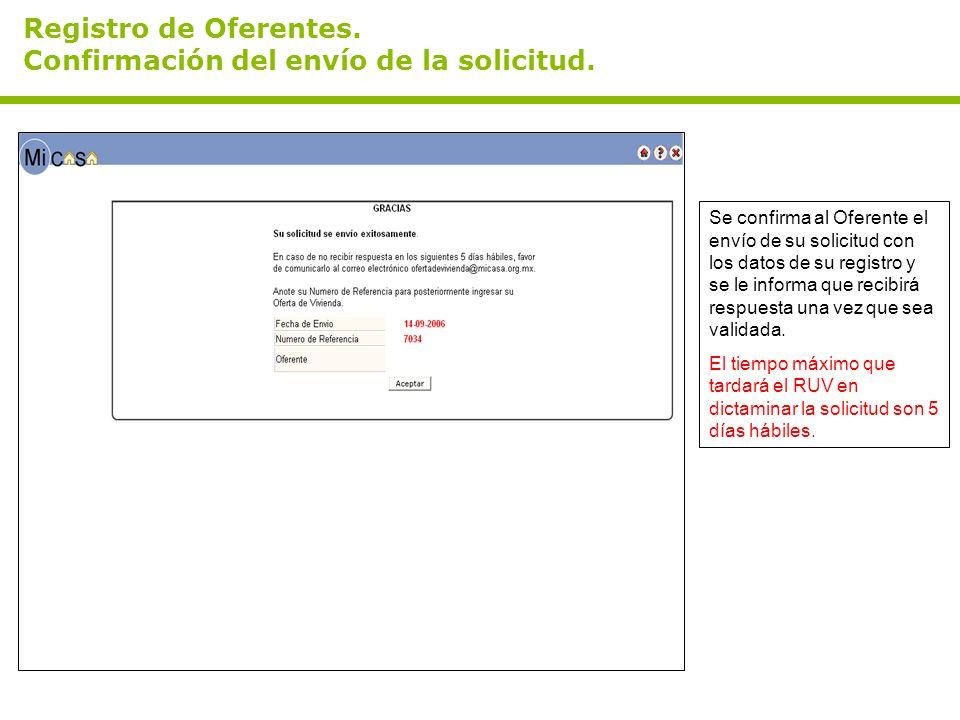 Registro de Oferentes. Confirmación del envío de la solicitud. Se confirma al Oferente el envío de su solicitud con los datos de su registro y se le i