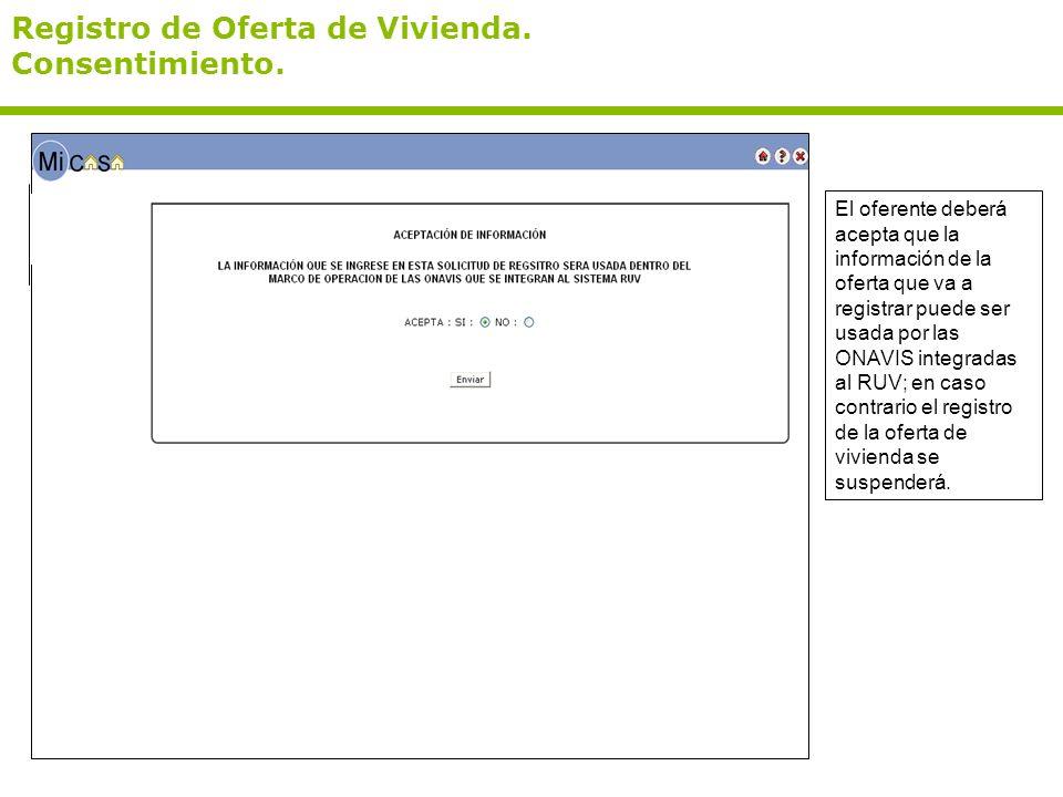 Registro de Oferta de Vivienda.Consentimiento.