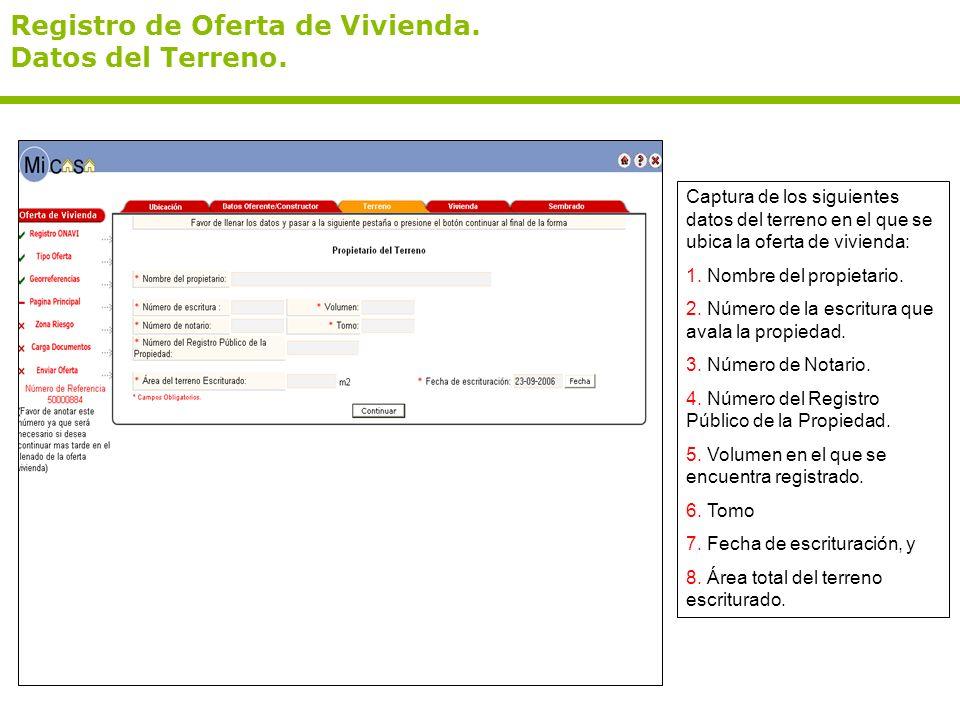 Registro de Oferta de Vivienda. Datos del Terreno. Captura de los siguientes datos del terreno en el que se ubica la oferta de vivienda: 1. Nombre del